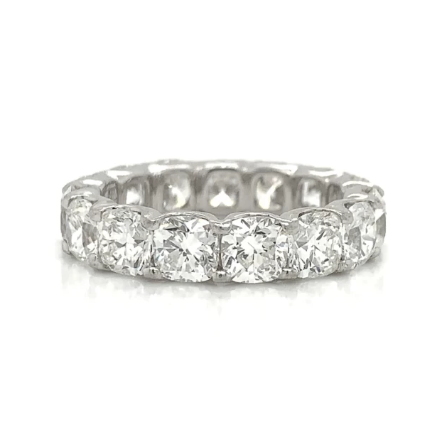 Platinum Eternity Cushion Prong Set Diamond Band