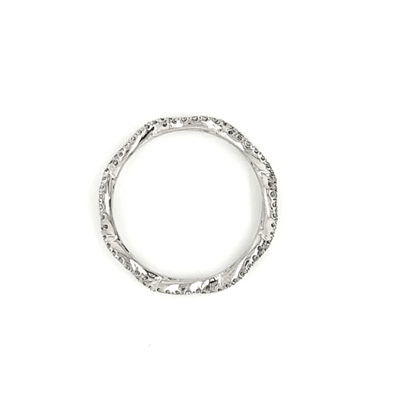 Platinum Open Twist Eternity Delicate Pave Diamond Band