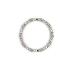 Platinum Square & Marquise Alternated Milgrain Eternity Pave Diamond Band