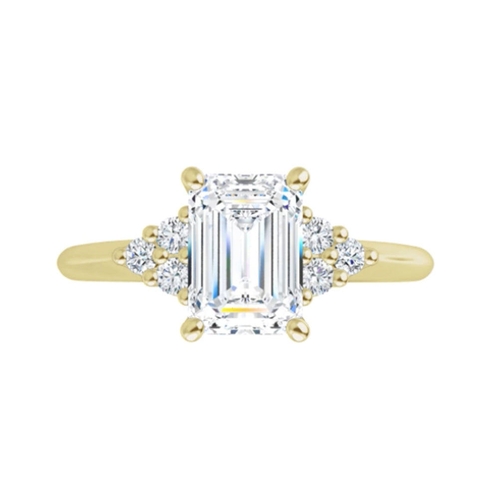 Yellow Delicate Emerald Accented Diamond Ring