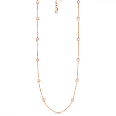 12 Station Classic Bezel Set Chain Necklace, 1.04ctw