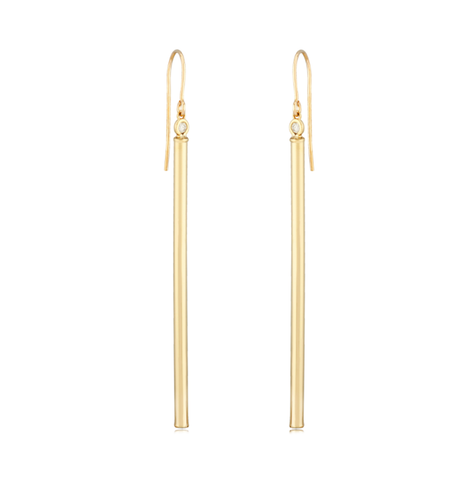 Elongated Diamond Accent Bar Earrings