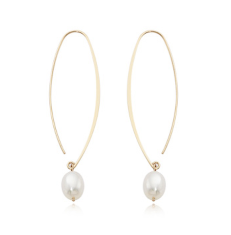 Large Pearl Sweep Drop Earrings