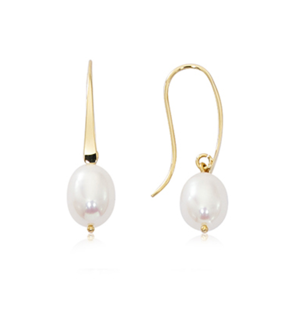 Dangle White Freshwater Pearl Earrings