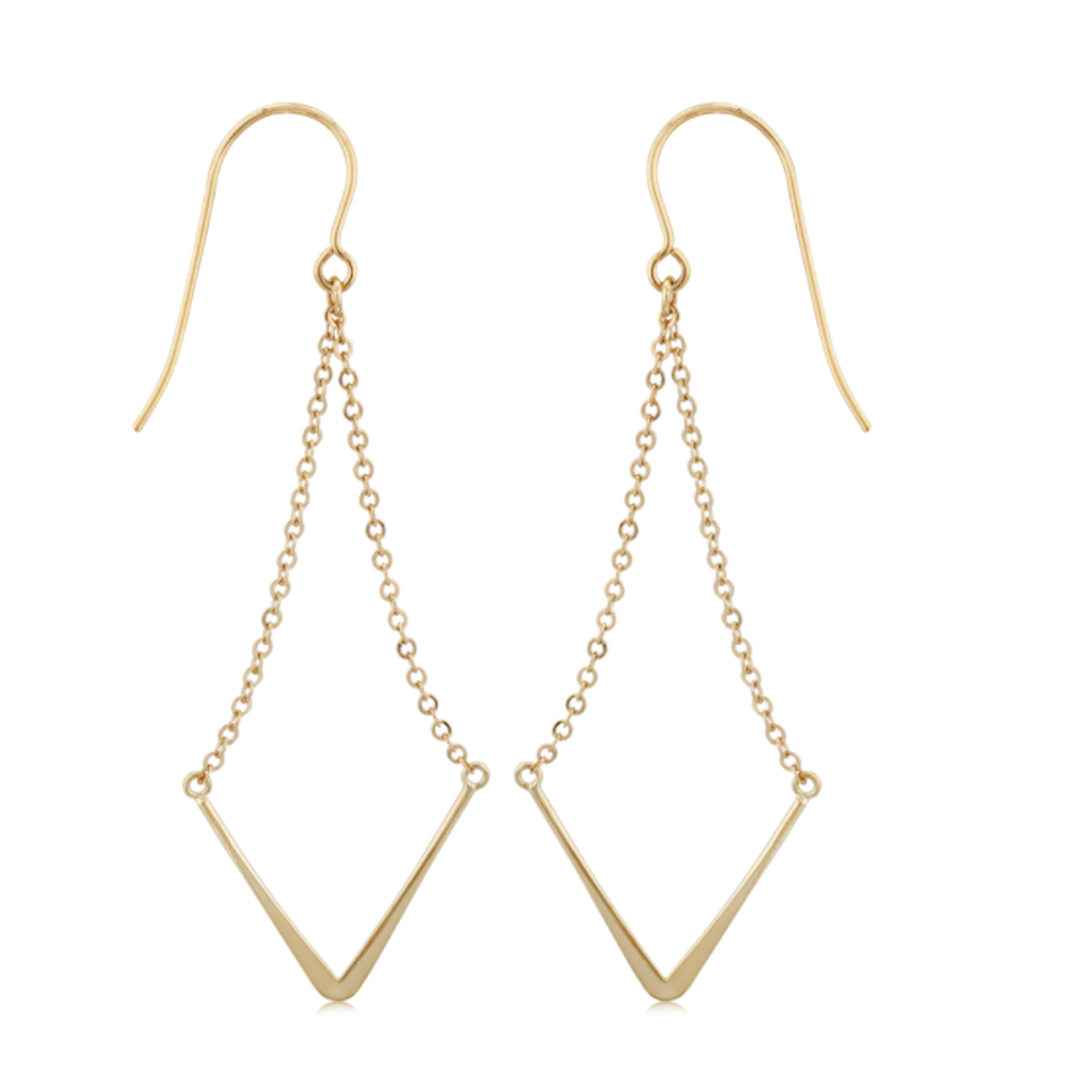 Large V Shape Chain Dangle Earrings