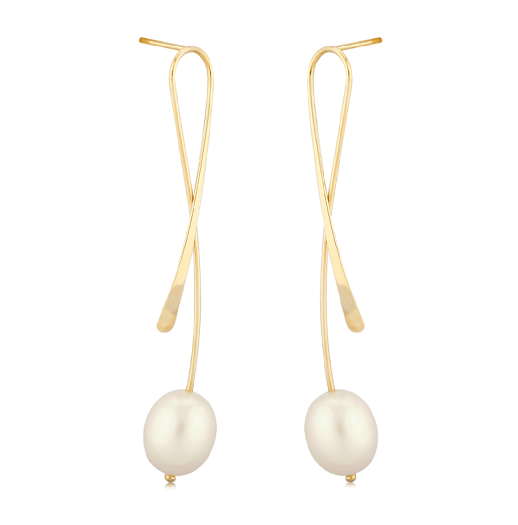 Dangle Freshwater Elongated Criss-Cross Pearl Earrings