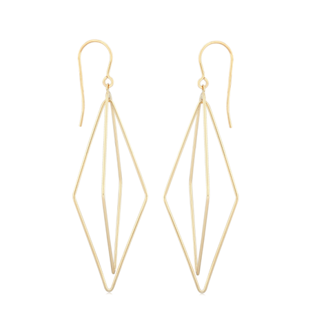 Elongated Swinging Lanterns Dangle Earrings