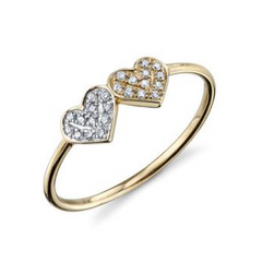 Two-Tone Double Heart Diamond Pave Ring