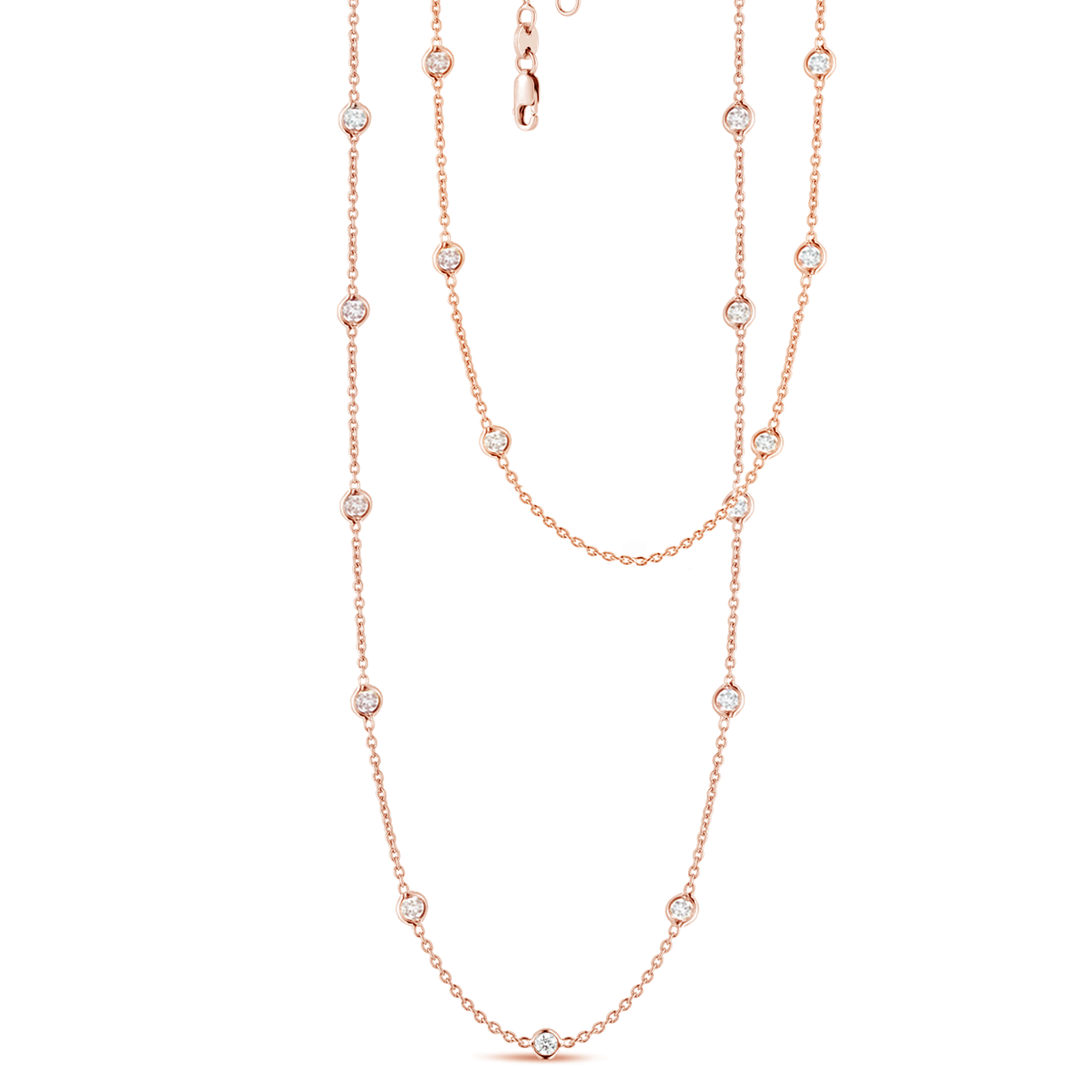 17 Station Classic Bezel Set Chain Necklace, 2.69ctw