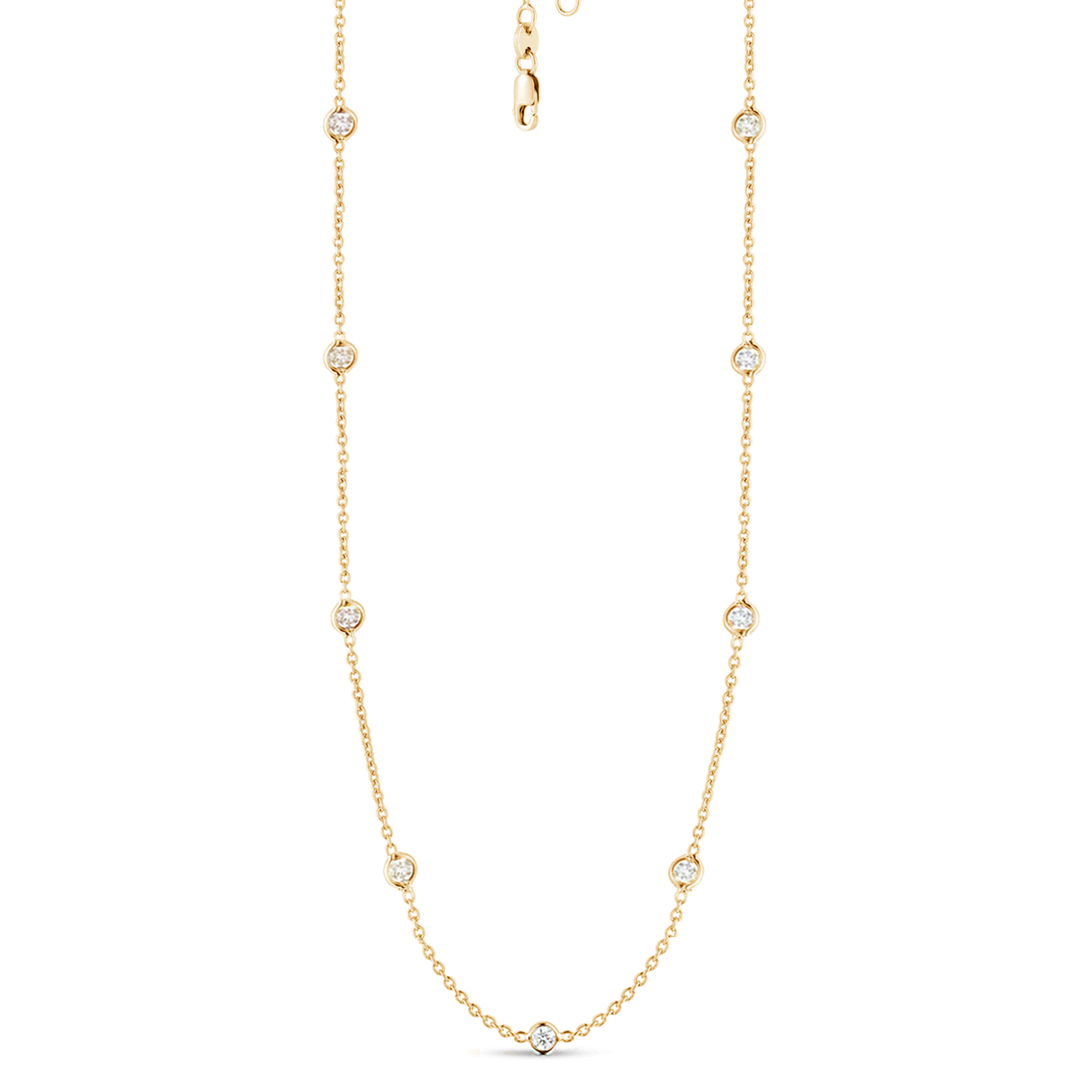 9 Station Classic Bezel Set Chain Necklace, 1.02ctw
