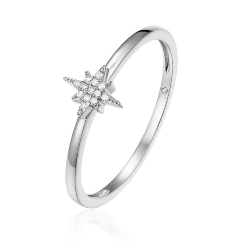14K Diamond Pave Starburst Stackable Ring