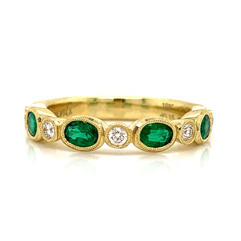 Emerald & Diamond Oval Milgrain Bezel Set Band
