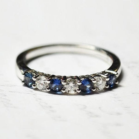 White Prong Set Diamond & Blue Sapphire Band