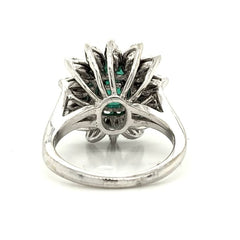 White Gold Antique Emerald Floral Pave Diamond Ring