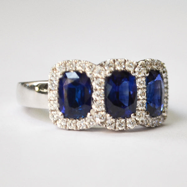 White Diamond & Blue Sapphire 3 Stone Elongated Cushion Cut Halo Ring