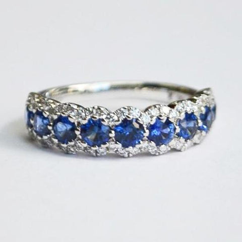 White Diamond & Blue Sapphire Halo Band