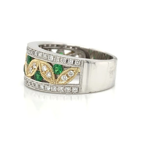 White & Yellow Gold Tsavorite & Diamond Leaf Pave Band