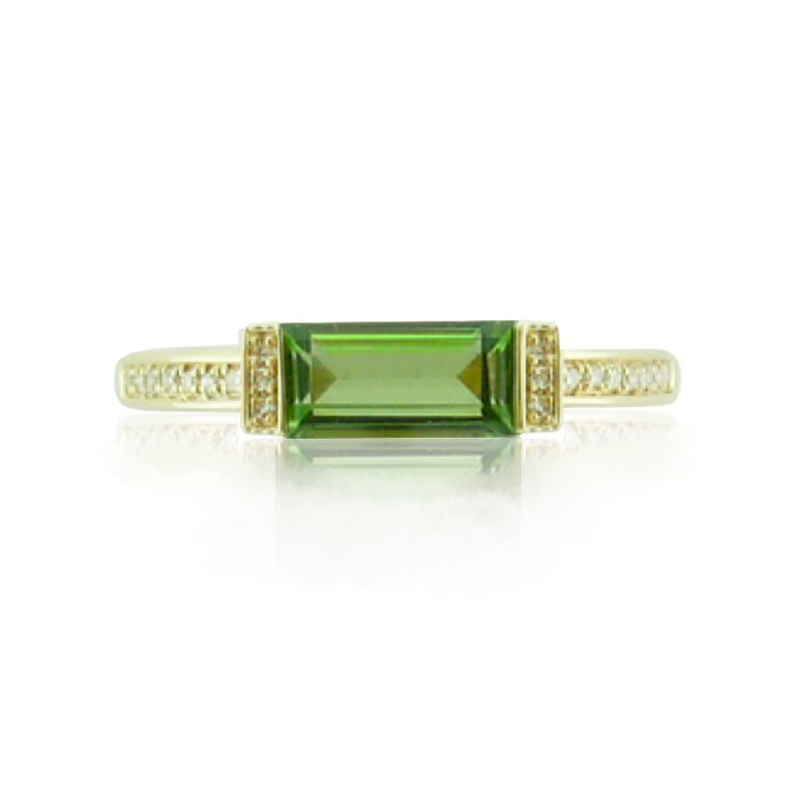 Baguette Cut Peridot Diamond Pave Ring