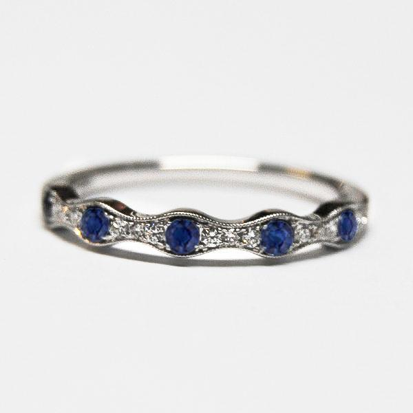 White Alternating Pave Diamond & Blue Sapphire Band