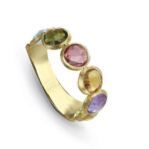Jaipur Yellow Gold Mixed Gemstone Ring