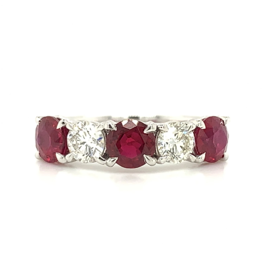 White Gold Ruby & Diamond Alternating Prong Set Band