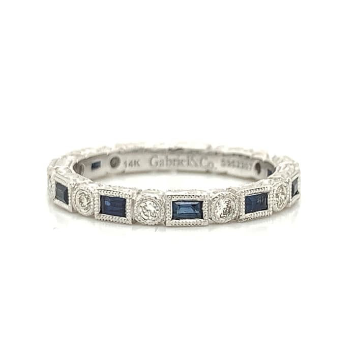 White Gold Baguette Blue Sapphire & Round Diamond Alternating Band