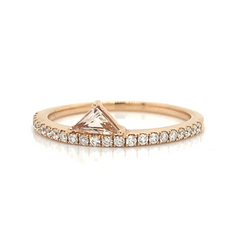 Rose Gold Morganite Trillion Station Pave Diamond Band