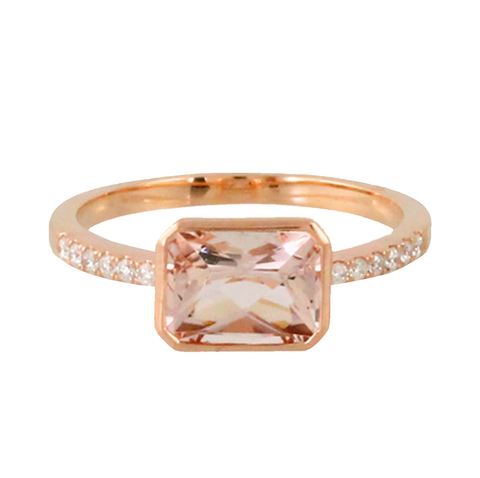 East to West Morganite Diamond Ring