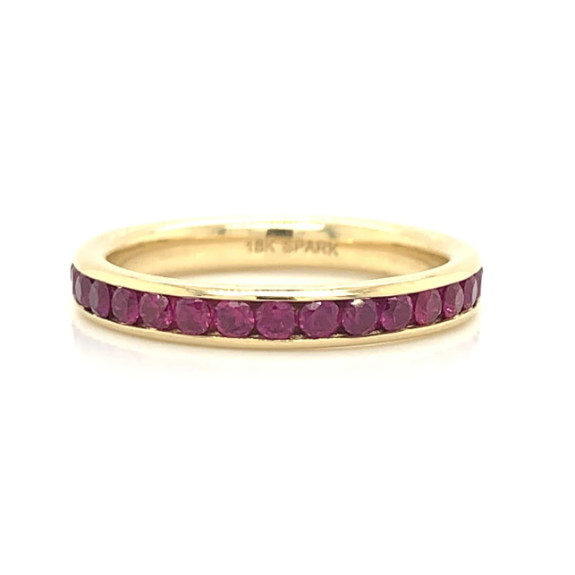 Yellow Gold Eternity Ruby Channel Set Band