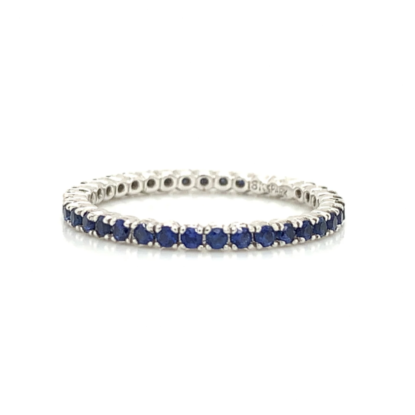 White Gold Eternity Blue Sapphire Prong Set Band