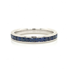 White Gold Eternity Blue Sapphire Channel Set Band