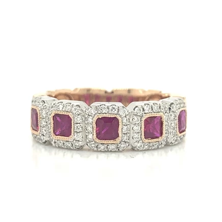 Rose Gold Cushion Ruby & Diamond Halo Band