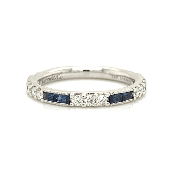 White Gold Baguette Blue Sapphire & Round Diamond Station Band