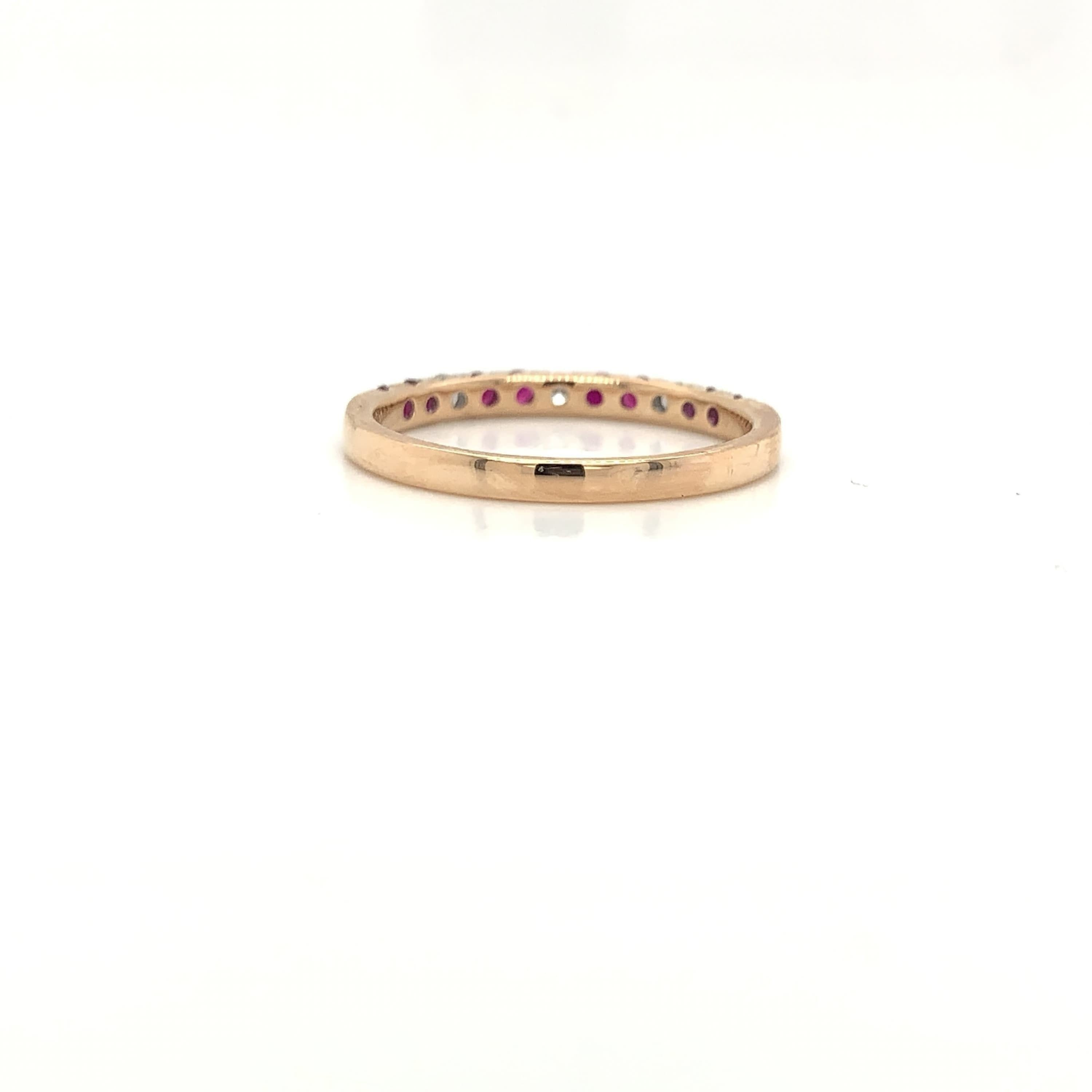 18K Alternating Ruby & Diamond Prong Set Band