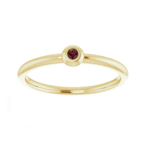 Stackable Garnet Bezel Set Ring