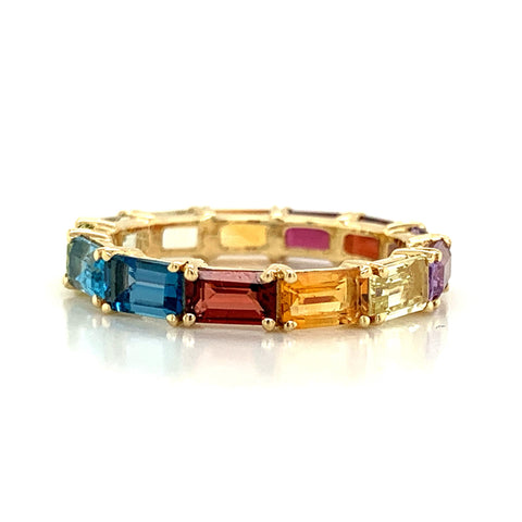Eternity Emerald Cut Rainbow Colored Gemstone Band | East to West Set