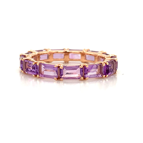 Eternity Emerald Cut Pink Amethyst Band | East to West Set