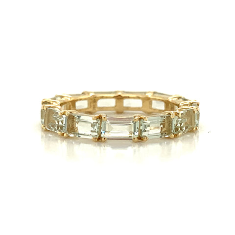 Eternity Emerald Cut Green Amethyst Band | East to West Set