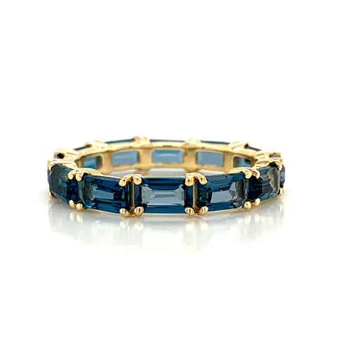 Eternity Emerald Cut London Blue Topaz Band | East to West Set