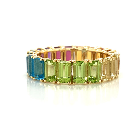 Eternity Emerald Cut Rainbow Colored Gemstone Band | North to South Set
