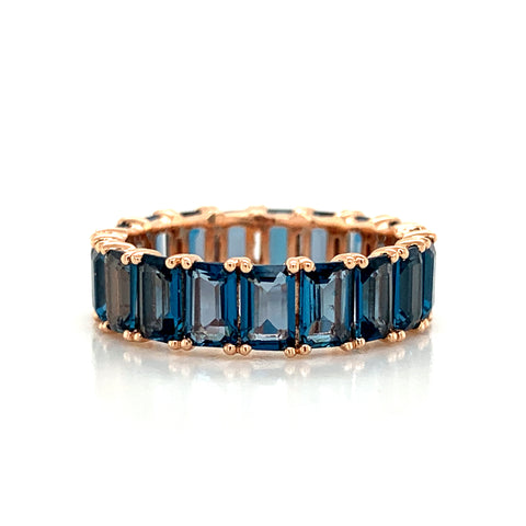 Eternity Emerald Cut London Blue Topaz Band | North to South Set