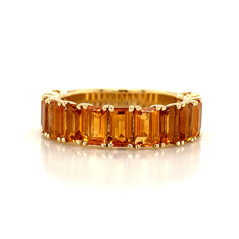 Emerald Cut Citrine Band | North to South 3/4 Set