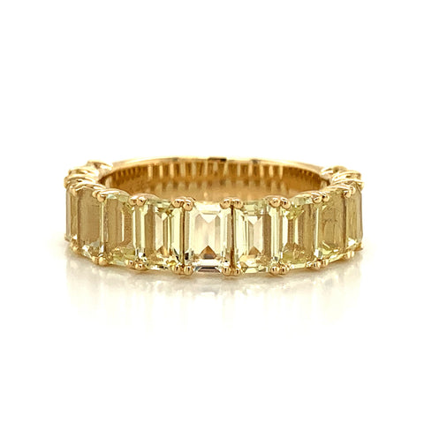 Emerald Cut Lemon Quartz Band | North to South 3/4 Set