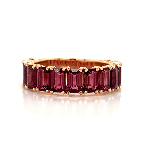 Emerald Cut Rhodolite Garnet Band | North to South 3/4 Set