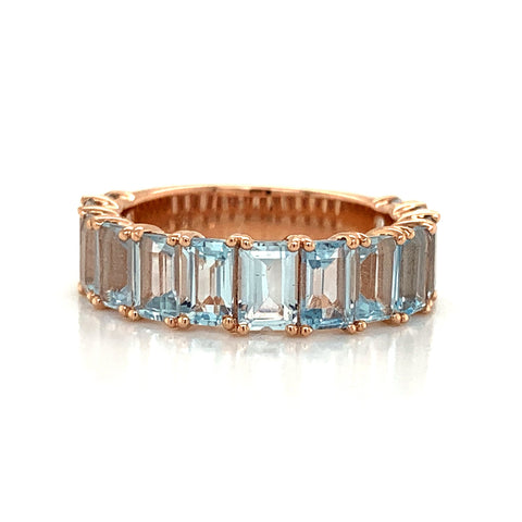 Emerald Cut Sky Blue Topaz Band | North to South 3/4 Set