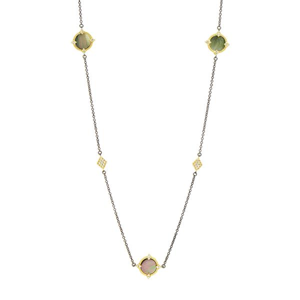"Grey Mother of Pearl Bezel 36"" Necklace 