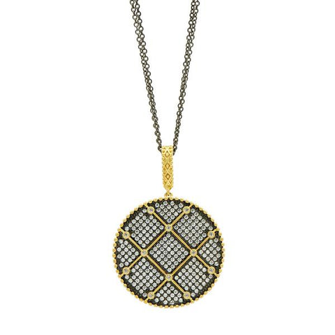 "Double Sided Bezel & Pave 27"" Pendant 