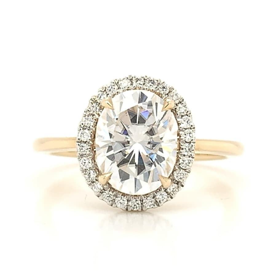 Yellow Delicate Oval Halo with Moissanite Center