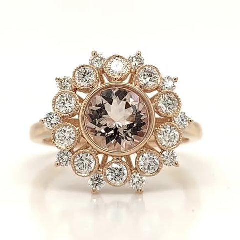 Rose Gold & Morganite Starburst Bezel Set Halo Ring
