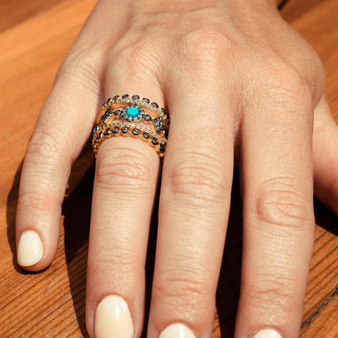 Signature 5 Band Turquoise Stack | 14K Gold & Black Rhodium on Sterling Silver